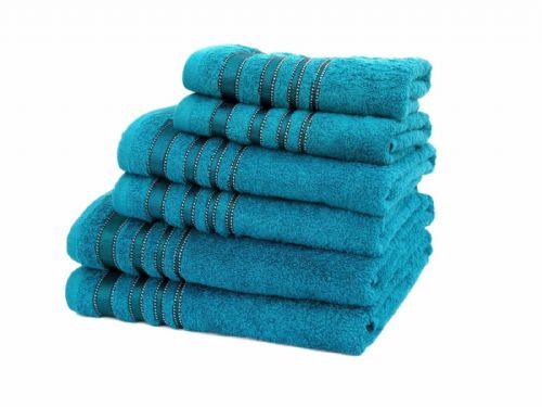 SATIN STRIPE LUXURY RANGE 100% COTTON HOTEL QUALITY TOWELS JADE TEAL COLOUR